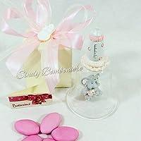 Sindy Bomboniere Bombonera nacimiento bautizo niña ELEFANTE Campana de cristal campana 1 ° Cumpleaños