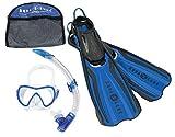 Aqua Lung Sport Amika Schnorchel Set 3-teilig INC Maske/Schnorchel/Flossen in Reisetasche, blau