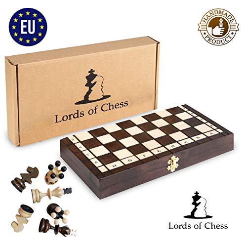 Amazinggirl Schachspiel Holz Schachbrett Handgefertigt mit Schachfiguren für Kinder Schach Chess klappbar Antik 35x35CM
