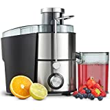 VonShef Juicer Machine/ Maker – Electric 400W Whole Fruit & Vegetable Stainless Steel Centrifugal Juice Extractor –with Large Chute & 500ml Jug