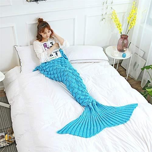 140 Skala (XILIUHU Farbe Soft Gehäkelt gestrickt Mermaid Decke Skalen Sleeper Schlafsack Sofa Quilt mit Schwanz für Erwachsene Frauen Mädchen, Türkis, Blau, 140 cm x 70 cm Werfen)