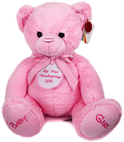 New Baby Girl First Personalised Pink Checked Thanksgiving Badge Pink Cuddly Teddy Bear Soft Toy Big 35cm Baby Girls Pink Check
