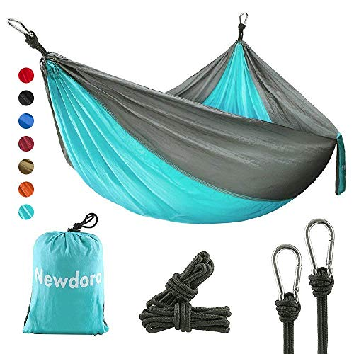 Newdora Hängematte Tragbar Haengematte Tuchhängematte(270 x 140 cm belastbar bis 300 kg für Backpacker Camping Jagen Strand Hof