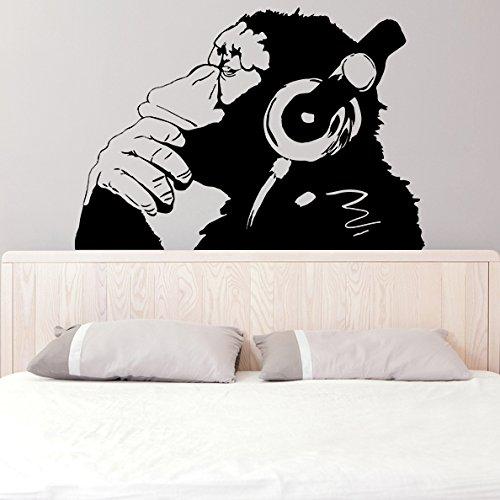 (160x 111cm) Banksy Vinyl Wand Aufkleber Affe mit Kopfhörer/One Farbe Chimp Musik hören in Kopfhörer/Street Graffiti Aufkleber + Gratis Aufkleber Geschenk