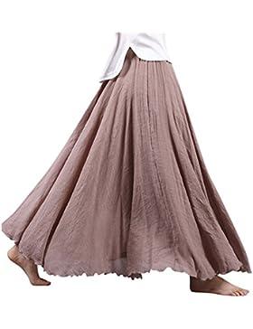 Mujeres Lino Larga Faldas Doble Capa Cintura Elástico Cómodamente Falda Plisada