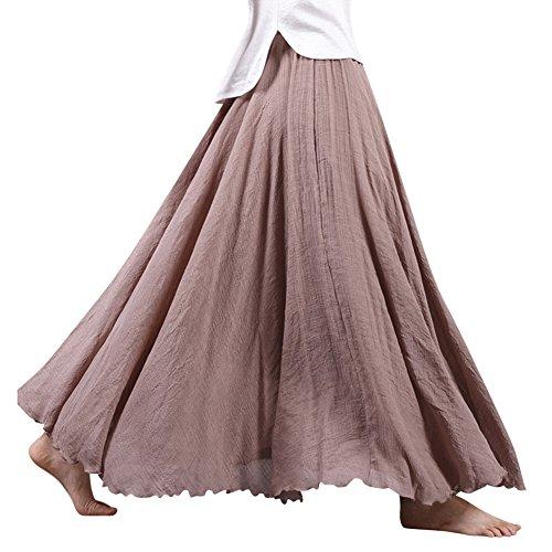 Frauen Elastische Taille Double Layer Baumwolle Leinen Rock Langer Maxi Damen Strandkleid Strand Plisseerock Beige 85 (Rock Leinen Langer)