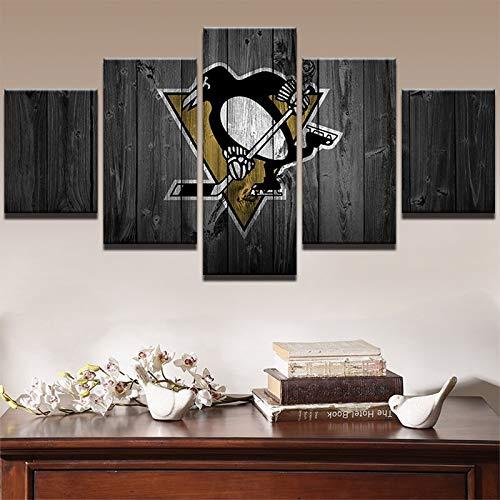 XIAOJIE0104 Leinwand Wandkunst Poster HD Gedruckt Malerei Für Room Home Decor 5 Panel Eishockey Sport Pinguine Modulare Bilderrahmen 55x100 cm (21x39 Zoll)