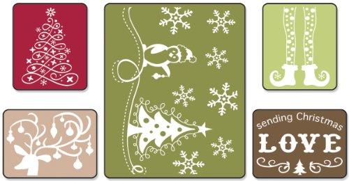 Sizzix Textured Impressions Prägefolder 5–Sending Christmas Love Set von Rachael Bright (Prägefolder-set)