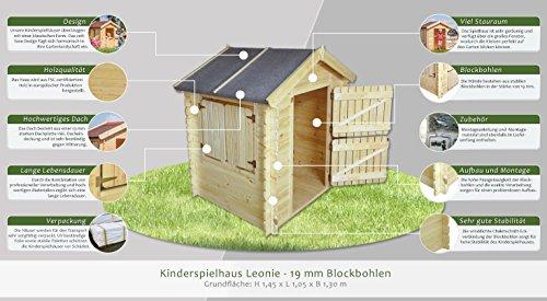 Kinder Spielhaus Leonie 1,05 x 1,30 Meter aus 19mm Blockbohlen – Kinder Gartenhaus Kinderspielhaus Kinderhaus Spielhaus Holz inkl. Dachpappe und Fußboden