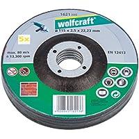 Wolfcraft 1621300-5 discos de cortar para amoladora para piedra, cubo deportado Ø 115 x 2,5 x 22,23 mm
