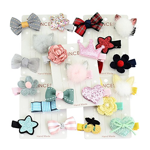 KDFJF Haarnadeln 5 Teile/Satz 5 Farben Mädchen Kleinkind Kaninchen Ohren Form Haarspange Bogen Blume Mini Haarspangen PINK -