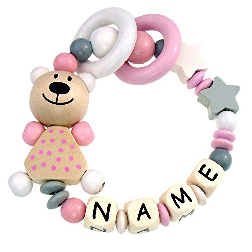 Premium Greifling mit Namen HOLZ Rassel Modell Teddybär Sterne grau rosa mit Glöckchen