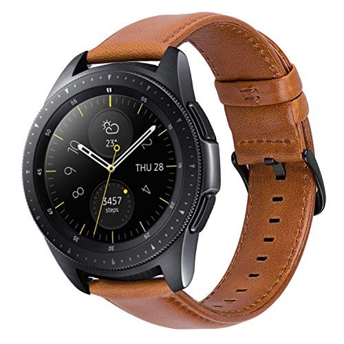 Funda compatible con MroTech Strap 20 mm para Samsung Galaxy Watch 42mm / Galaxy Active / Gear S2 Classic, Sonido Amazfit, Garmin Vivoactive 3 / Vívomove HR, TicWatch E, Huawei 2 20 mm Banda Marrón