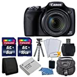 Best Selling Canon PowerShot SX530 HS Digital Camera with 50x Optical Image Stabilized Zoom with 3-Inch LCD HD 1080p Video (Black)+ Extra Battery + 24GB Class 10 Card Complete Deluxe Accessory Bundle And Much More be sure to Order Now