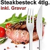 Steakbesteck mit Gravur 4tlg. ** Marke: Puresigns ** inkl. Namensgravur auf der Vorderseite ** Steakmesser & Steakgabel ** Grillgeschenke