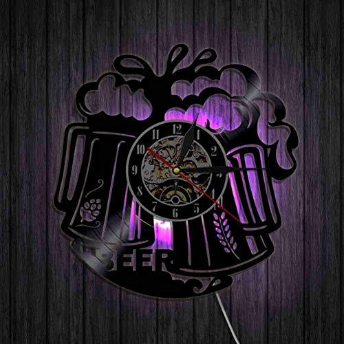 HHYXIN Schallplatte Wanduhr Personalisierte Schallplatte Wanduhr Bier Tasse Dekorative Bunte Led Beleuchtung Uhr Moderne Bar Dekor