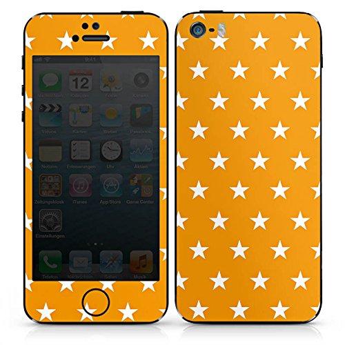Apple iPhone 4s Case Skin Sticker aus Vinyl-Folie Aufkleber Sterne Orange Muster DesignSkins® glänzend
