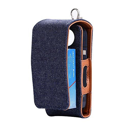 ALIXIN-10014 iqos E-Zigarette-Kit Fall Denim Blau Leder Fall Halter Tragbare Flexible Soft,Regenbogenfarben Box Tasche Shell Anti-Kratzer Professionelle Tragetasche Reise Tasche für Schutz. Denim Fall