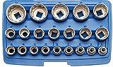 Bgs 2267 - Llaves de tubo de 12,5 a 1/2, de 12 puntos, 8-36 mm, 21 unidades