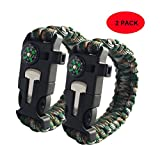 3ZZZ 5 in 1 Outdoor Survival Gear Escape Paracord Bracelet Flint / Whistle / Compass / Scraper (ARMY GREEN CAMOUFLAGE)
