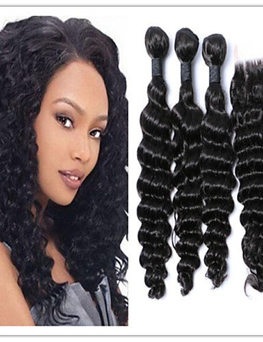 IJKIU Jff/4 pcs/lot Moins Cher Cheveux frisés Lots, brésilien Deep Wave Cheveux naturels Vierges avec Top Lace Closure 100% Tissage de Cheveux Cheveux, 28 30 32 & 26-3 Part
