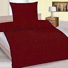 4 teiliges Set Seersucker Sommer Bettwäsche Übergröße 155x220 + 80x80 cm einfarbig bügelfrei , Farbauswahl:Bordeaux