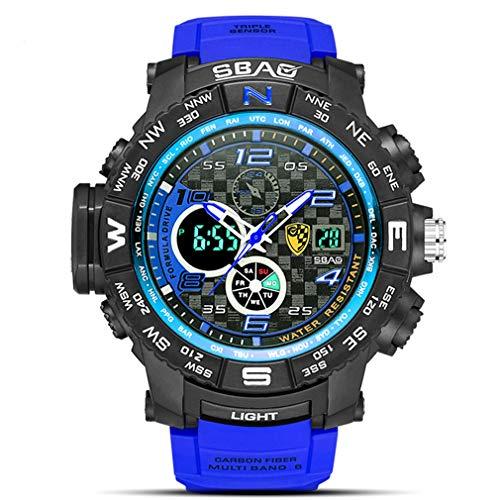 Unbekannt Herren Sportuhr Wasserdicht Tauchen Leuchtende Multifunktions-Elektronische Uhr Militäruhr Männer,Royalblue