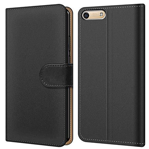 Conie BW8067 Basic Wallet Kompatibel mit Huawei G6, Booklet PU Leder Hülle Tasche mit Kartenfächer und Aufstellfunktion für G6 Case Schwarz