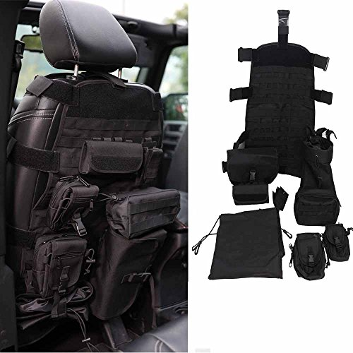 Bosmutus Universal Seat Cover,Organizer Front Black with 7 Pocket Design For Jeep Wrangler CJ YJ TJ LJ 1976-2018,Ford150 Ridgeline Toyota Chevy Seat Protector Multiple Pockets(Black) (Zubehör Jeep Cherokee)