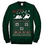 Weihnachten zwei Dinosaurier Ugly langärmlig Sweatshirt Pulli lustig bedruckt Sweatshirt, Pullover, Pullover - Flaschengrün, XX-Large