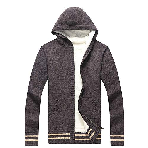 Aiserkly Herren Strickjacke Mantel Knitted Cardigan Warme Kapuzensweater Kapuzenpullover Kapuzen-Sweatshirt Hoodie Mantel T-Shirt Outwear Kaffee 3XL