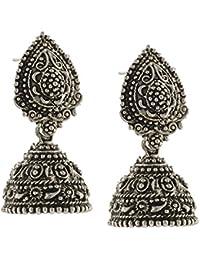 Multiline Company Black Metal Oxidised Silver Plated Jhumka Jhumki Earrings For Women & Girls