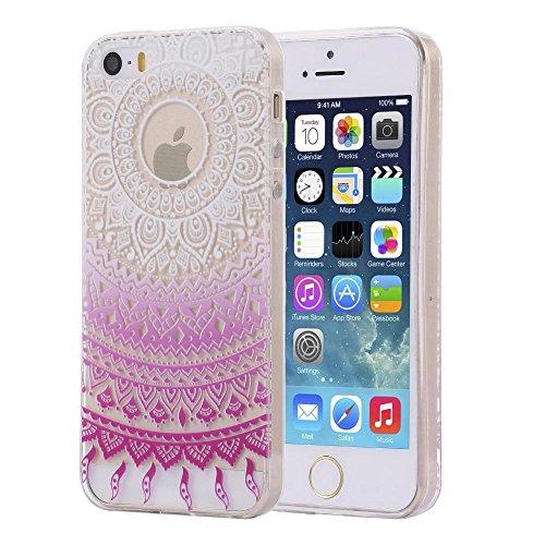 ECENCE APPLE IPHONE SE / 5 5S SILIKON TPU CASE SCHUTZ HüLLE HANDY TASCHE COVER SCHALE DURCHSICHTIG 12010404 Mandala Pink