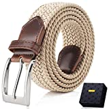 Fairwin Cintura Elastica Intrecciata per Uomo e Donna, Confortevole Cintura in Tessuto Elastico Stretch,per Jeans Pantaloni (L (vita 90-100cm/36-40), Beige)
