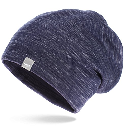 UNIQ Long Beanie Strickmütze | Damen und Herren | Slouch Mütze Oversize Unisex Atmungsaktiv meliert Baumwolle | für das ganze Jahr | weicher Stoff Muster liniert - navy