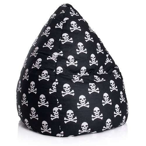 lifestyle4living Sitzsack schwarz-weiß mit Totenköpfen, Beanbag XL, Material 100% Baumwolle -...