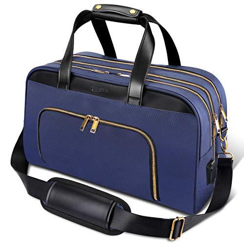 Keenstone Borsa da Viaggio 35L Grande Capacità Borsone Sportivo Pieghevole Borsa a Tracolla in Nylon Impermeabile Borsa da Viaggio Leggera per Bagagli Blu
