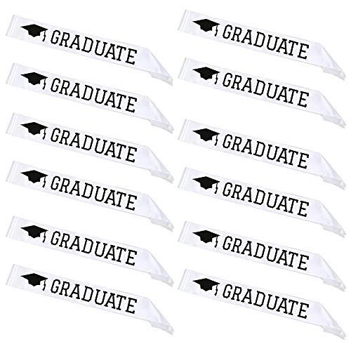 Fiyomet 12pcs Graduation Sash - Absolvent Satin Sash für High School College und Graduation Part Grad Geschenke Requisiten und Zubehör