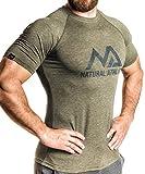 NATURAL ATHLET T-Shirt olive L Fitness Herren tailliert Slip fit meliert kurzarm rundhals
