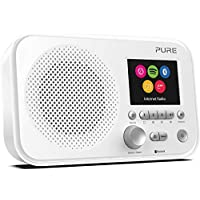 Pure Elan IR5 Portable Internet Radio with Bluetooth, Spotify Connect, Alarm, Colour Screen, AUX Input, Headphones Output and 12 Station Presets – Wi-Fi and Bluetooth Radio/Portable Radio - White