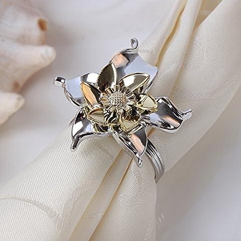 yifom Fashion cinque foglie e fiori Portatovaglioli, Argento Oro portatovagliolo