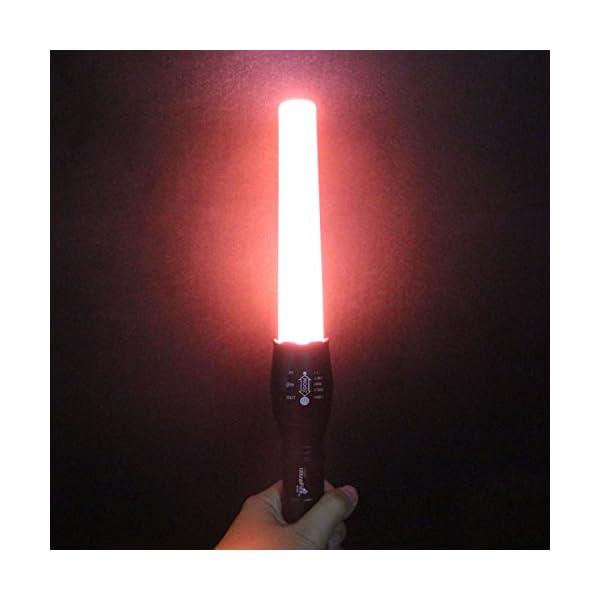UltraFire Baton Torch Signal Led Flashlight A100 800 Lumens With 6-Inch Traffic Wand,Adjustable Zoomable Light,Red Flashlight Mode,Red Torch