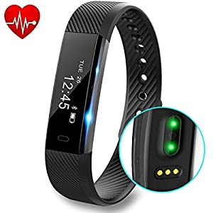 DeYoun Fitness Tracker Band, Smart Bracelet Activity Tracker Watch Heart Rate Monitor Waterproof Pedometer Wristband with Sleep Monitor/Calorie Counter/Step Tracker for IOS and Android Smartphones