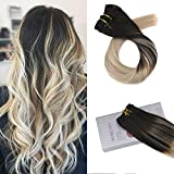 Moresoo 18 Zoll/45cm Dip Dye Balayage Clip in Haarverlängerung Echthaar Tressen 100% Remy Glatt Echthaar Haarfarbe Ombre Schwarz #1B bis Aschblond #18 bis Blond #60 7 Teilig 120g