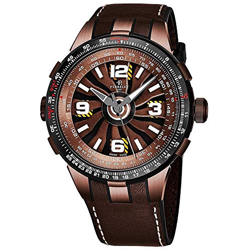 Perrelet Men's 48mm Brown Calfskin Band Steel Case Automatic Watch A1094-1A