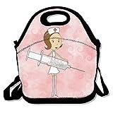 hoeless enfermera con jeringa–Bolsa para el almuerzo térmica con cremallera, asa y correa para el hombro para adultos o niños negro