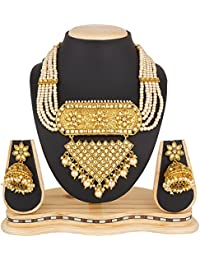 Luxor Fashion Jewellery Gold Plated Pearls & Kundan Haram Mala Jewellery Set Necklace Set With Earrings For Women...