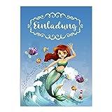 16 Einladungskarten zum Kindergeburtstag - Meerjungfrau, Geburtstagseinladungen im Set