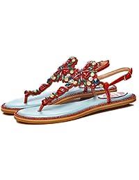WENMW Sandalias de cuero del pie señoras para verano del clip plano del dedo del pie Sandalias de la correa T...