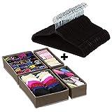 Halter - Perchas de Terciopelo para Trajes, 50 Unidades, con Organizador de cajón de clóset para Ropa, Calcetines de Ropa Interior, etc. - Color Negro